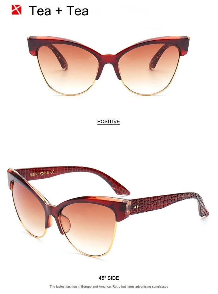 f7d6f5c52844d Vintage Women Cat Eye Sunglasses Brand Designer Semi-rimless Snakeskin  Pattern Legs Nail Coating UV400