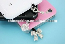 rinestone mobile phone jewelry, IPhone ear plug with fashion charms