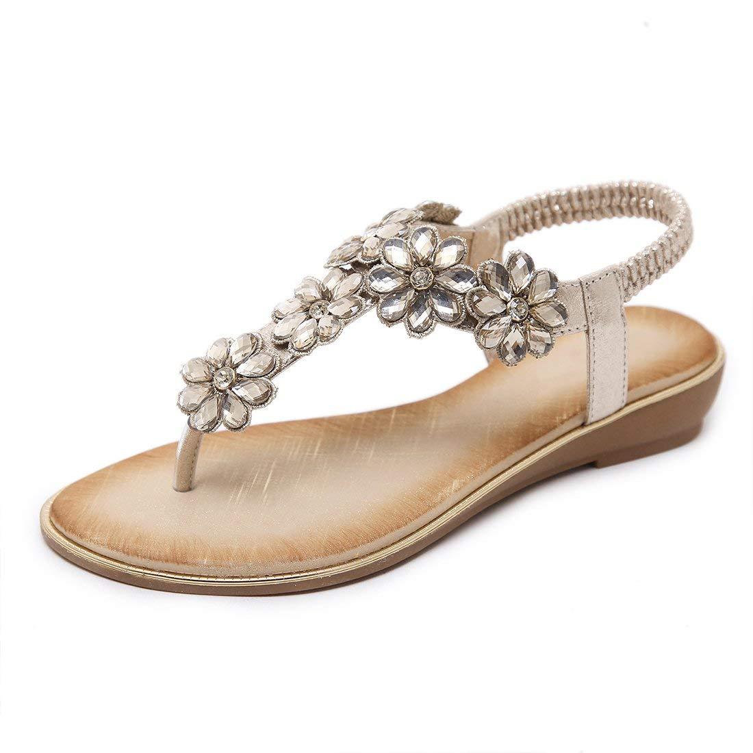 58f64db7ccc Get Quotations · Women s Rhinestone Flat Sandals Flip Flops T-Strap Wedding  Thong Sandals