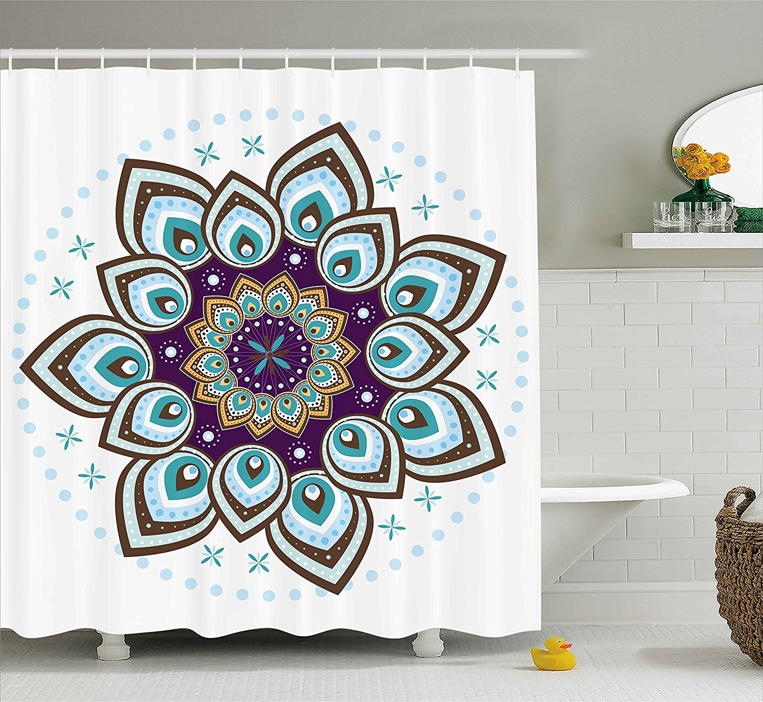 Mandala Decor Shower Curtain by Ambesonne, Boho Lotus Flower Stylized Microcosm Motif Unique Retro Spiritual Theme, Fabric Bathroom Decor Set with Hooks, 84 Inches Extra Long, Purple Teal and Brown