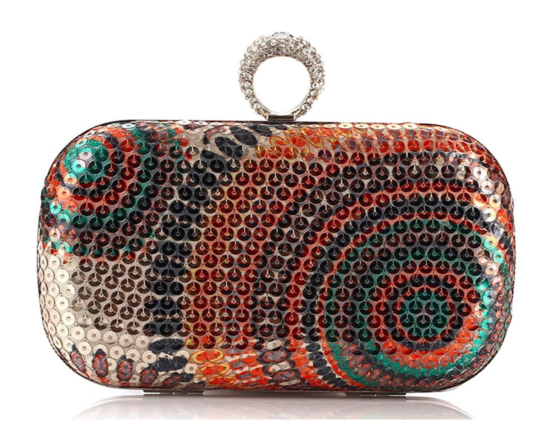 Get Quotations · Vivir La vida Luxury Sequins Embroidery Fashion Evening  bag Clutch bag(Orange) f6de77da12ba9