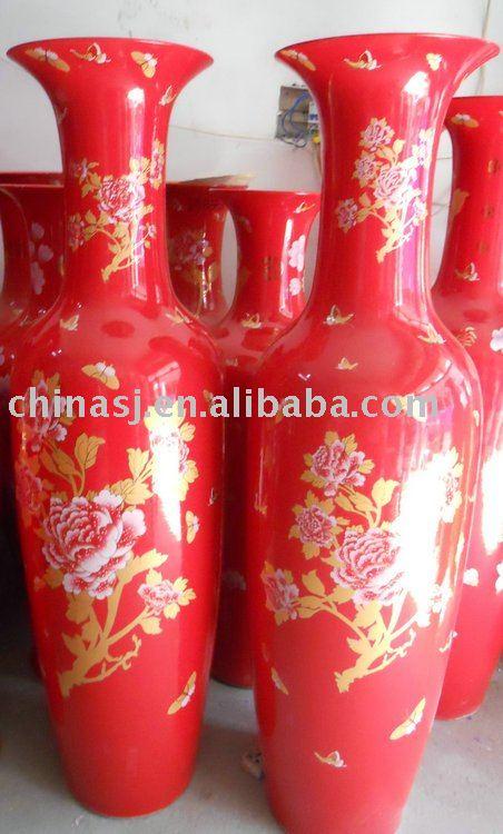 Chinese Red Floral Design Tall Ceramic Floor Vase Wrykw09 Buy Vase