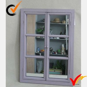 French antique window looking wooden wall mirror