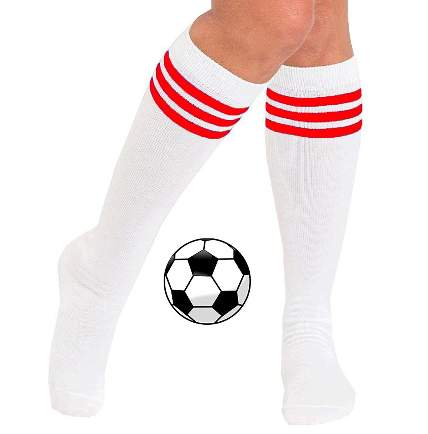 fresh styles catch classic shoes Buy Womens Knee High Striped Long Soccer Socks (3-Pairs ...