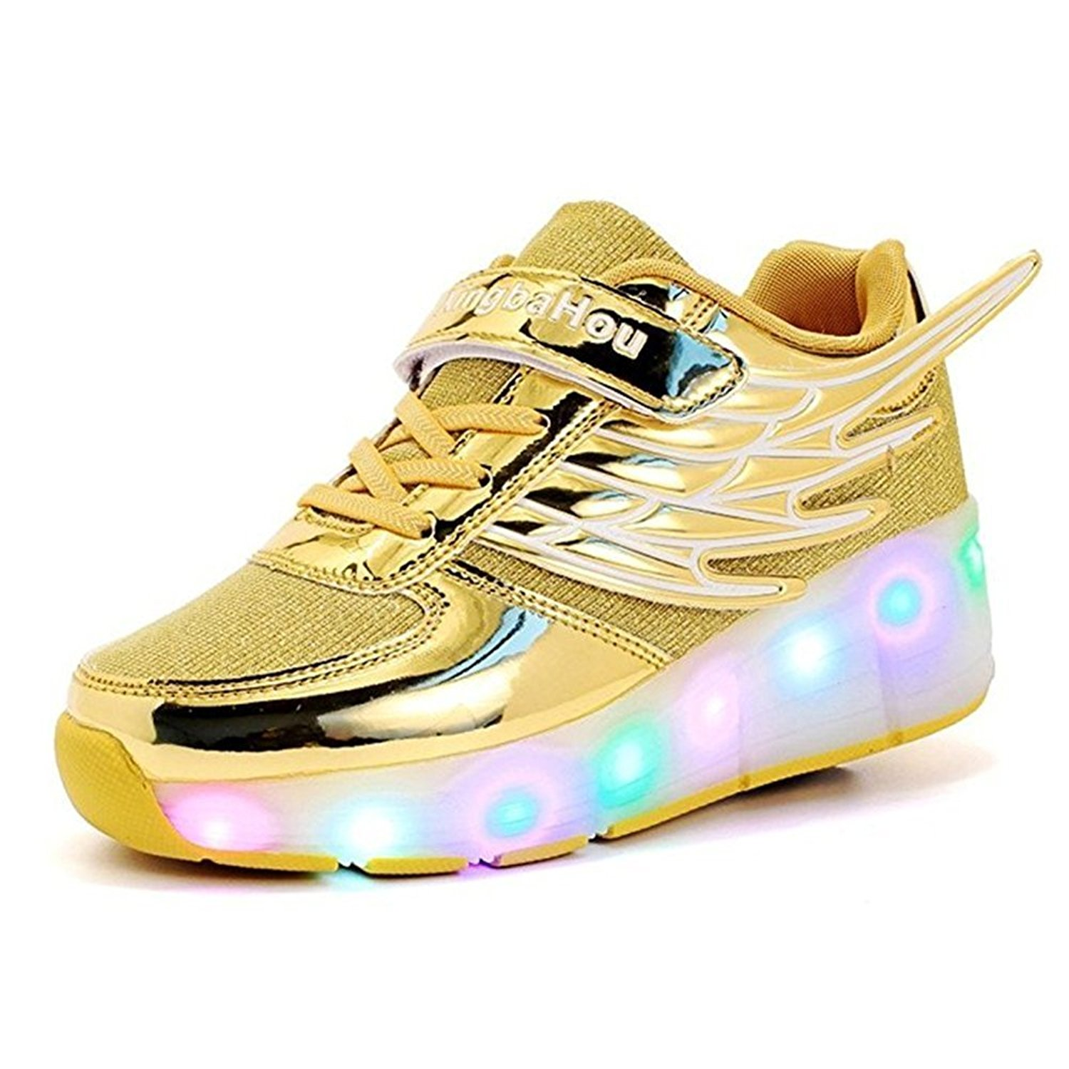 Kid Wings LED Light Up Roller Wheel Shoes Athletic Sneaker Sport Shoes Dance Boot Boy Girl ?Gold 4 M US Big Kid?