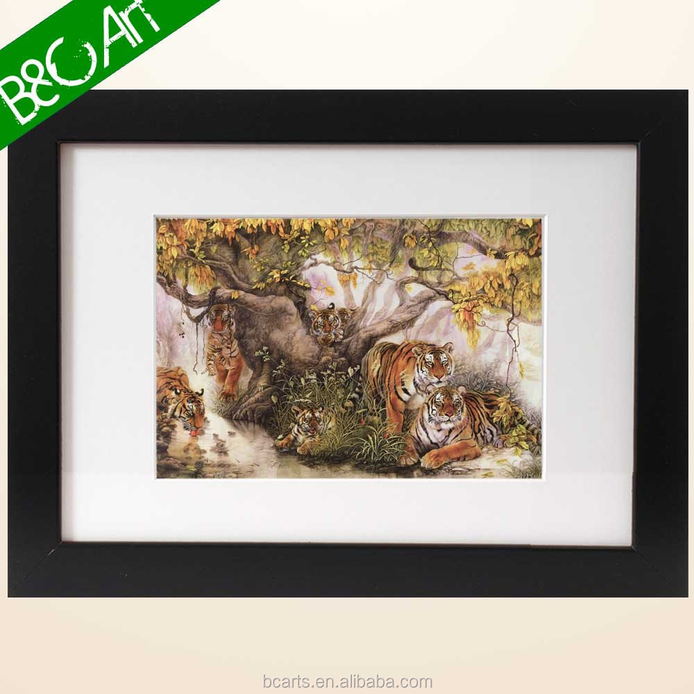 Wild animal oil painting lively tiger rest on a big tree