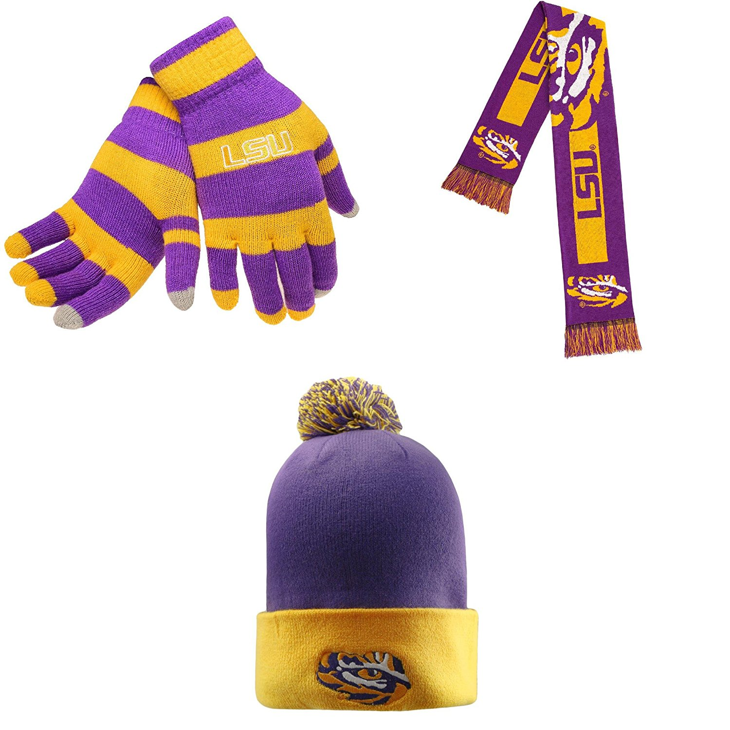 a389f199fe3 Get Quotations · NCAA LSU Tigers Glove Stripe Knit Big Logo Scarf And Pom  Beanie Hat 3 Pack Bundle