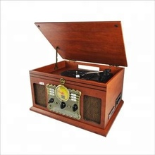 Holz Retro Bluetooth Plattenspieler mit Kassette player <span class=keywords><strong>CD</strong></span>-Player FM