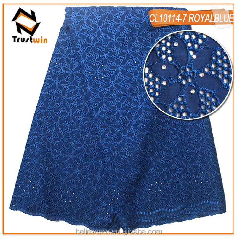 new arrival embroidery royal blue swiss voile lace in switzerland for party