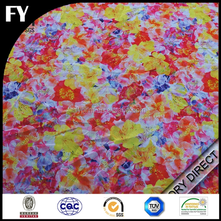 Factory custom design high quality digital printed silk chiffon fabric metallic