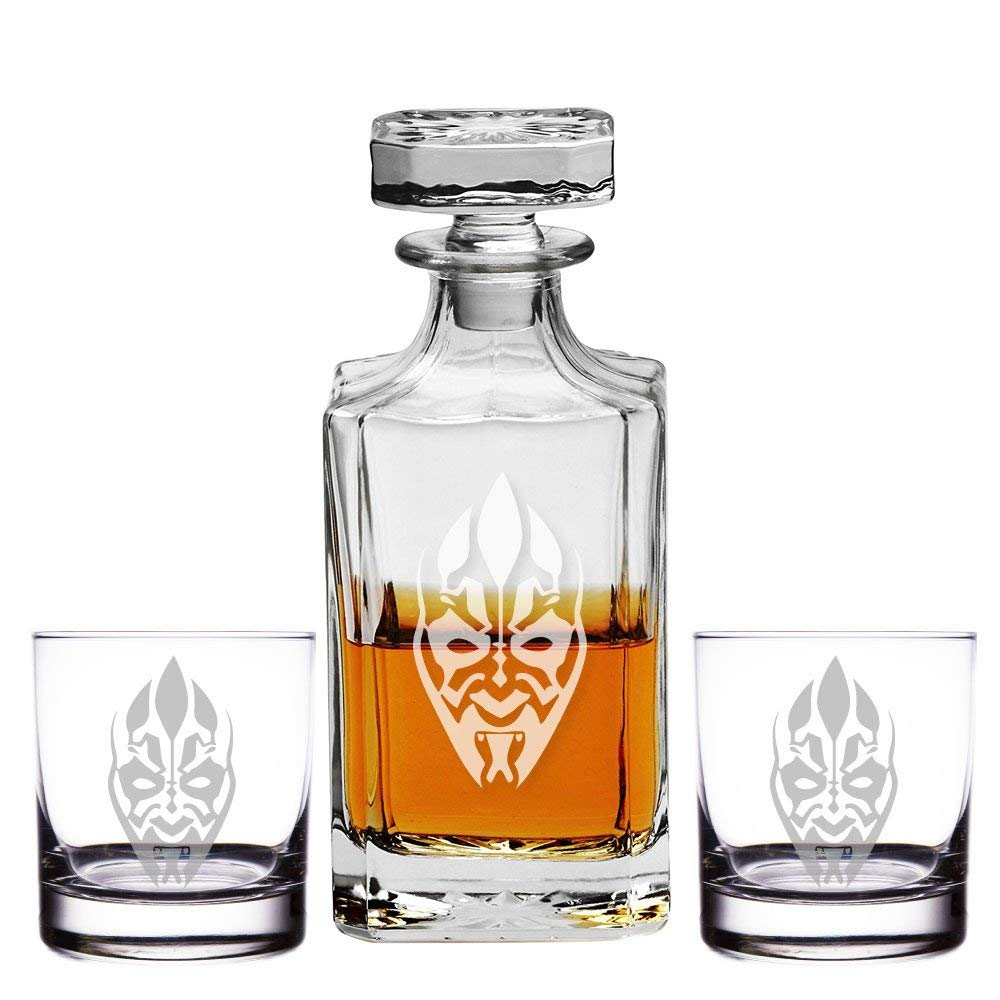 Abby Smith, Dart Maul Engraved Decanter and Rocks Glasses, Set of 3