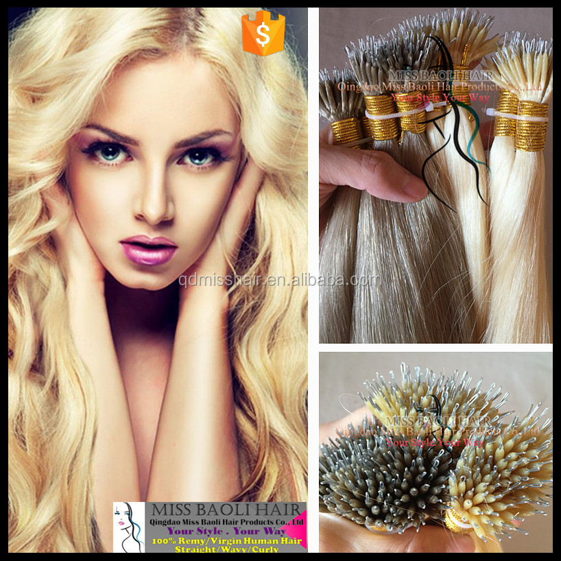Wholesale Factory Price Cuticles Remy Hair 2016 Best Selling Curly Nano Ring Virgin Remy Hair Extension