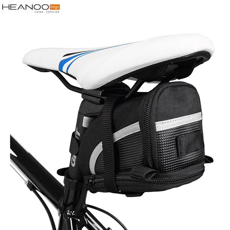 Large capacity strap-on mounting travel bag bike saddle bag with reflective trim & taillight hanger