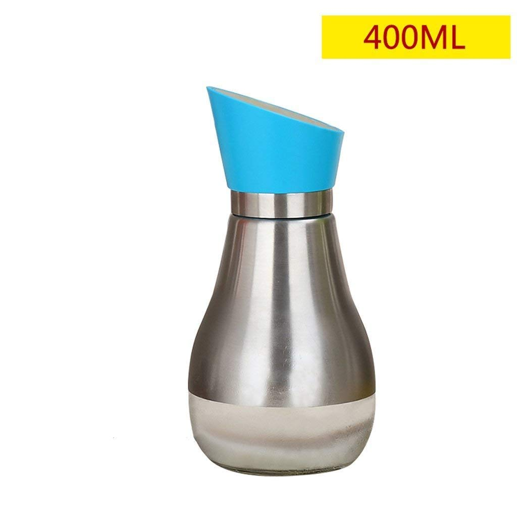 HLL Seasoning Bottle 304 Stainless Steel Glass Oil Bottle Oil Bottle, Opening and Closing Oil-Resistant Pot, Seasoning Bottles, Vinegar Sauce Bottles, Kitchen Supplies 400Ml