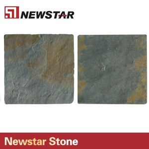 Cyan yellow stone slate tile