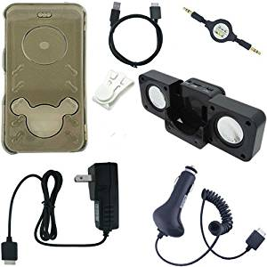 Premium Sony Walkman Accessories Combo Bundle Pack: Smoke Crystal Case Cover, Car Charger, Wall / Travel / AC Adapter Charger, 2in1 Sync USB Cable, 3.5mm Auxillary / Stereo Retractable Cable, Belt Clip, and Black Foldable Speakers for the Sony Walkman NWZ E436 E438 Series MP3 Players