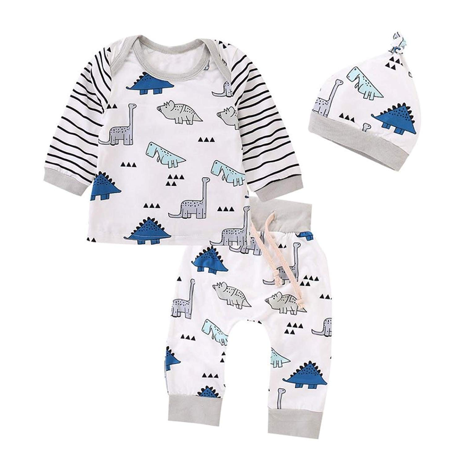 Get Quotations · Hatoys 3PCS Newborn Baby Girls Boy Striped Tops+Cartoon  Dinosaur Pants with Cap Clothes Outfit f18afbbab