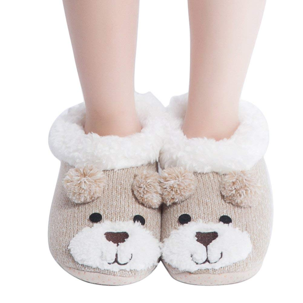 e96e869baf58 Get Quotations · MaaMgic Womens Fuzzy Christmas Animal House Slippers Ladies  Cute Bedroom Indoor Knit Winter Slippers