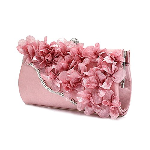 Handbag - SODIAL(R)Lady Satin Clutch Bag Flower Evening Party Wedding Purse Chain Shoulder Handbag Colors:Pink