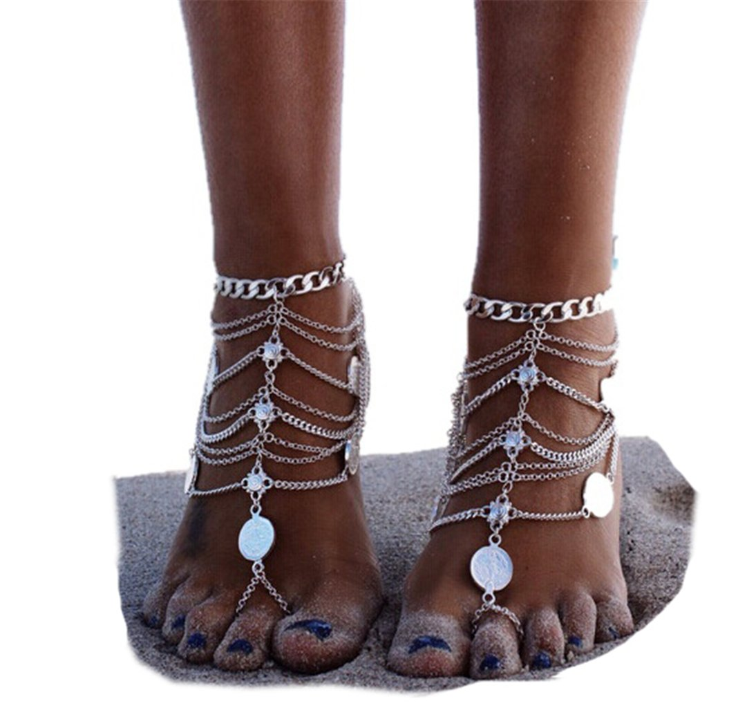 SUNSCSC 1 Pair Boho Vintage Gold Silver Coin Blessing Symbol Tassel Anklets Foot Jewelry