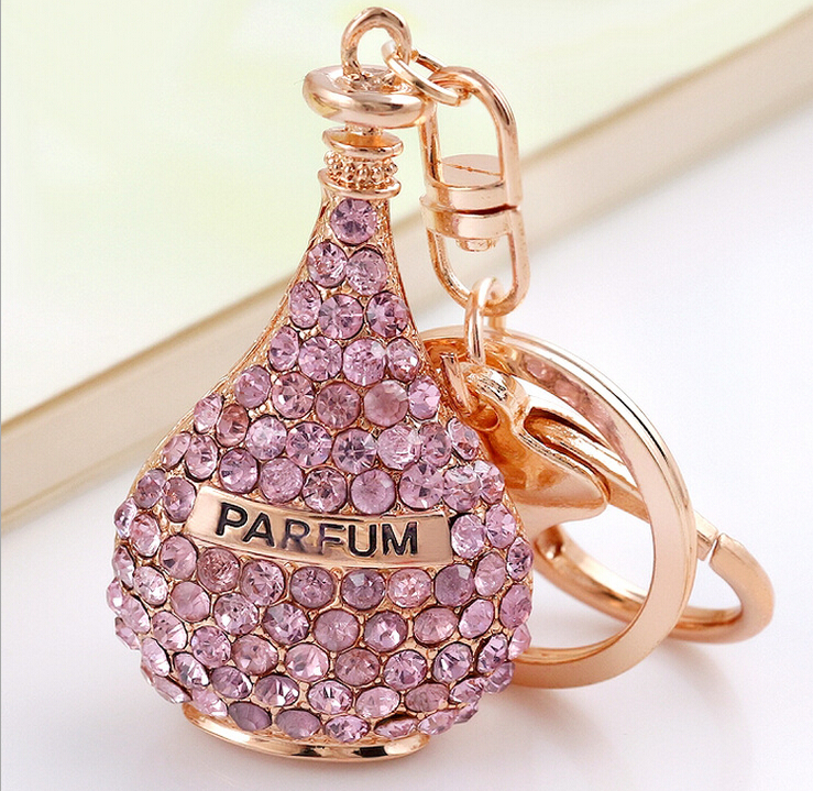 Ladies fashion beautiful zinc alloy gold plated red pink crystal parfum essential oil keychain