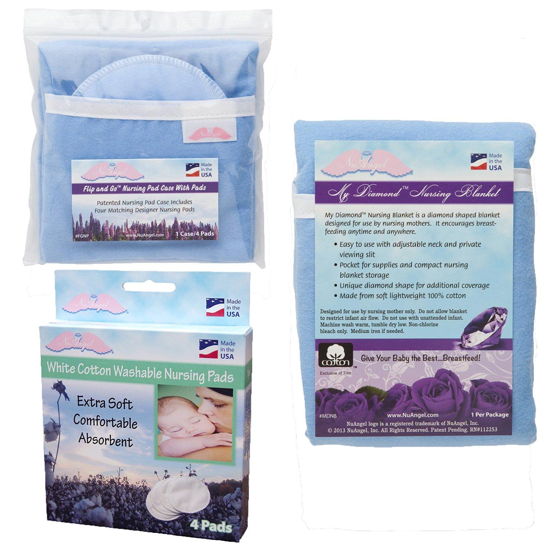 NuAngel Flip and Go Nursing Pad Case with Nursing Blanket and All-Natural Cotton Nursing Pad Set, Blue