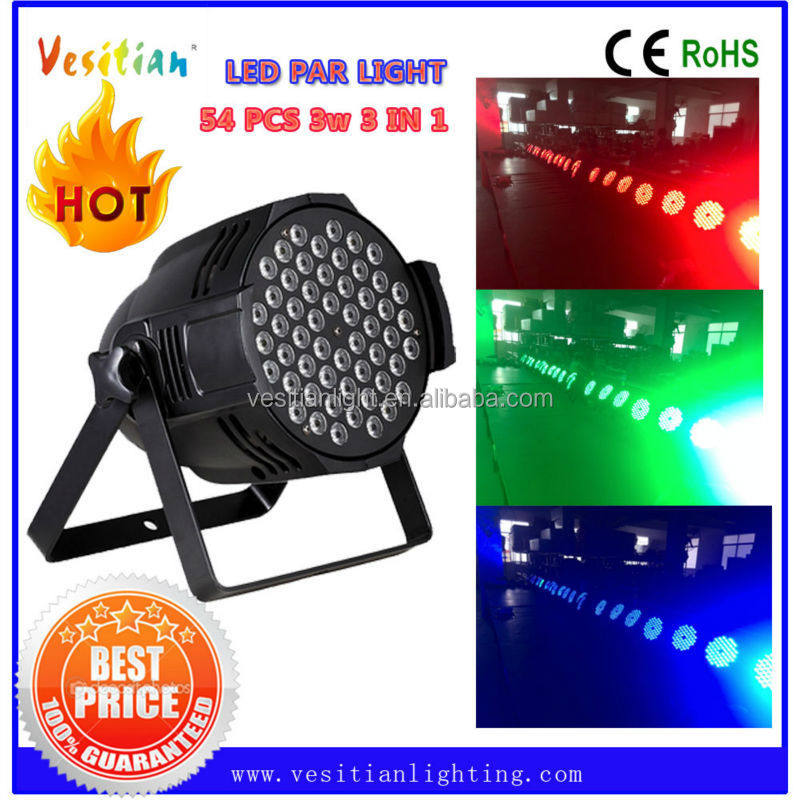 branded export surplus 54pcs 3w led par light dmx RGB led wedding decoration par lights