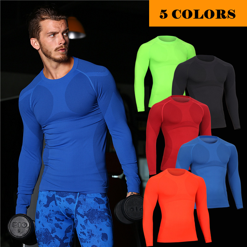 Sport QUICK-DRY Tight Long T Shirt Yogaing Workout Mens Exercise Clothing