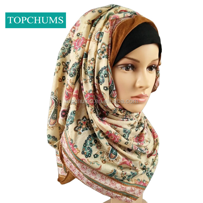 cheap Wholesale Hot style Paisley cashew nut printed muslim scarf india hijab