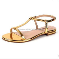 Flat Golden Shinning PU Sandal