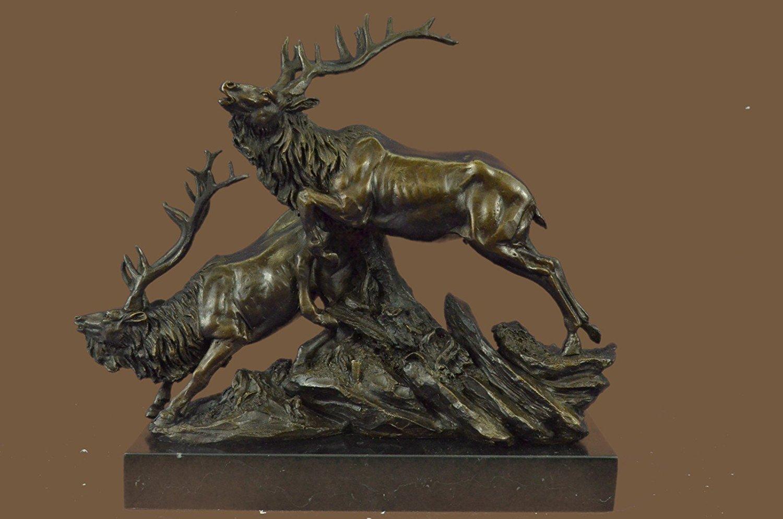 ...Handmade...European Bronze Sculpture Caribou Elk Stag Buck Trophy Hunter By Truffot Hot Cast (1X-XN-0972) Bronze Sculpture Statues Figurine Nude Office & Home Décor Collectibles Sale Deal Gifts