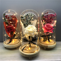 custom High Quality Artificial flowers Rose bouquet in glass dome with led light for festival Valentine Day gift