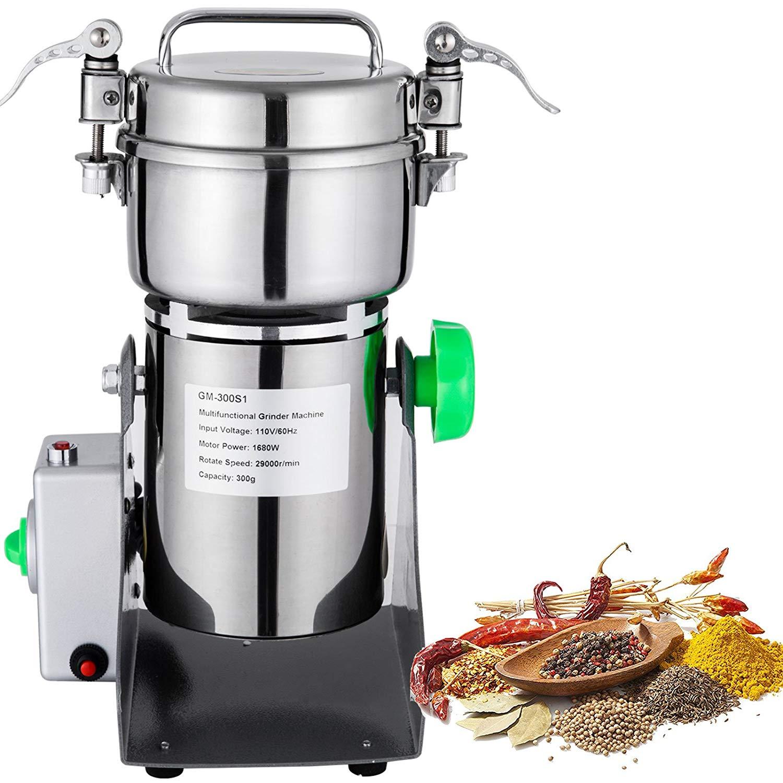Mophorn Electric Grain Grinder 300g Grain Grinder Machine High Speed Grain Grinder Mill 50-300 Mesh 1500W Corn Herb Spice Powder Machine(300g)