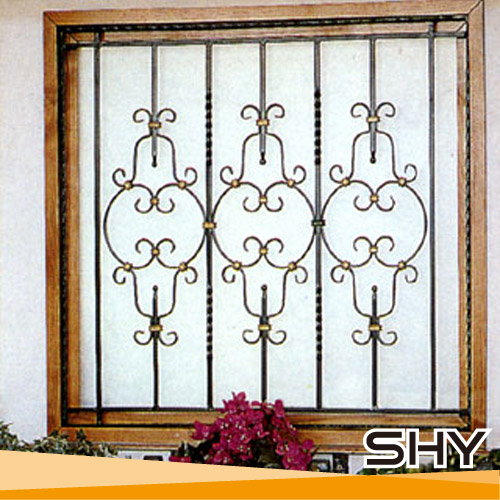 Modern wrought iron safety window grill designs buy for Fancy window design