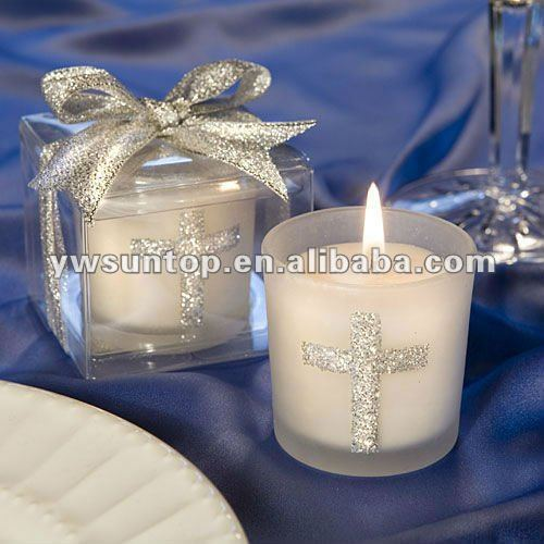 Candle Favors with Sparkling Silver Cross for wedding gift