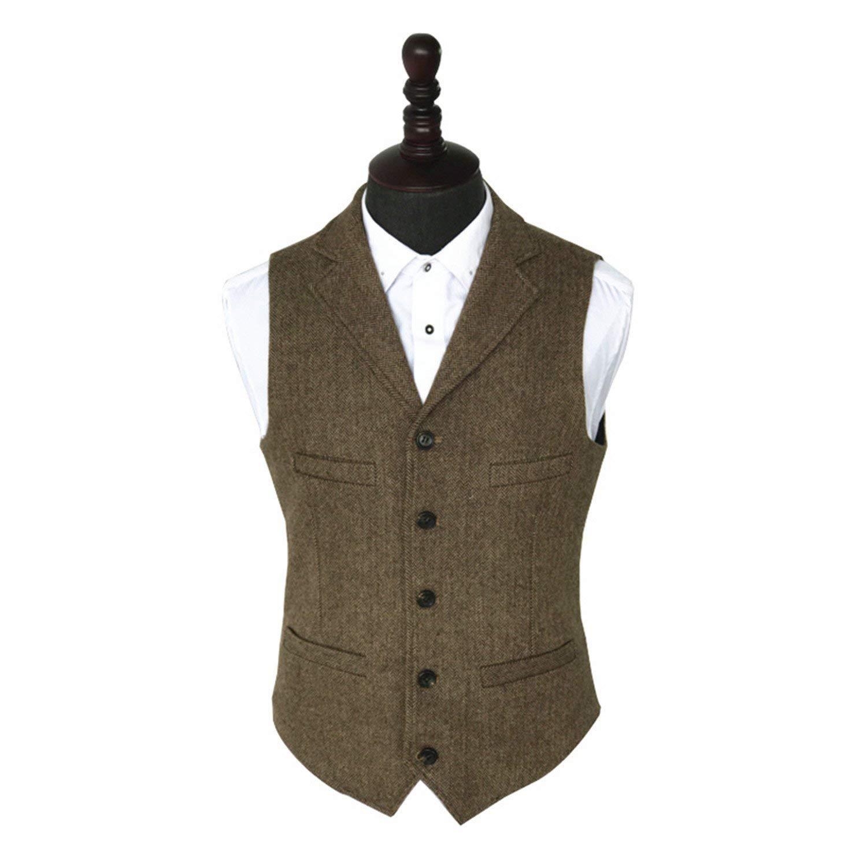 Jwhui Vintage Tweed Vest Striped Suit Vest Light Brown Waistcoat Vest Slim Fit Sleeveless Jacket Gilet