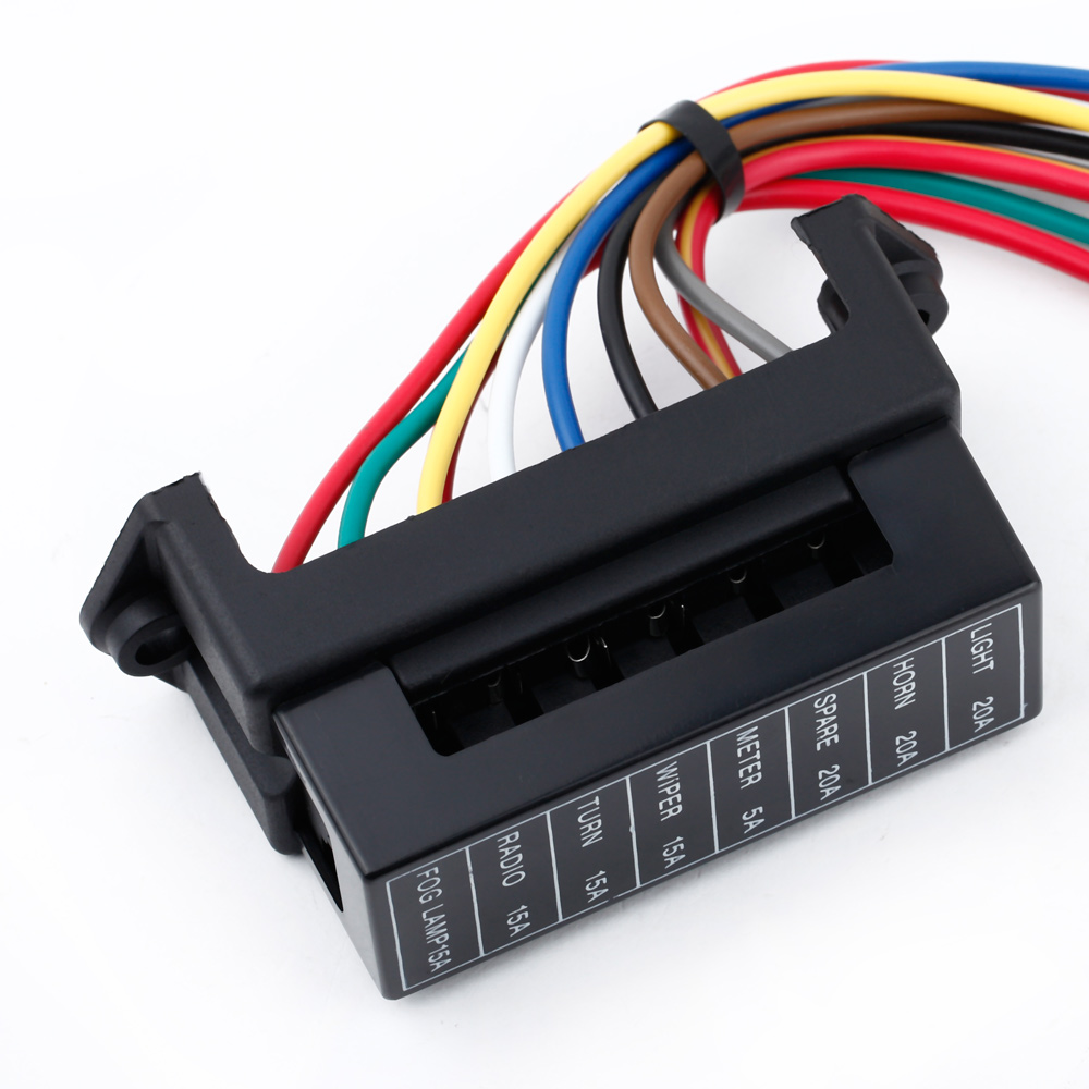 Get Quotations · 8 Way Fuse Block Circuit Car Trailer Auto Blade Fuse Box  Block Holder DC 12V 24V