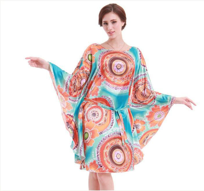 Get Quotations · New Summer Bathrobes for Woman Rayon O Neck Batwing Silk  Circle Print Nightgown Sleepwear Women Nightgowns 406a01f2c