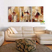 Framed 3 Panels Hand painted Ballet Dancer Abstract Modern Wall Art Picture Home Decor Oil Painting On canvas For Bedroom