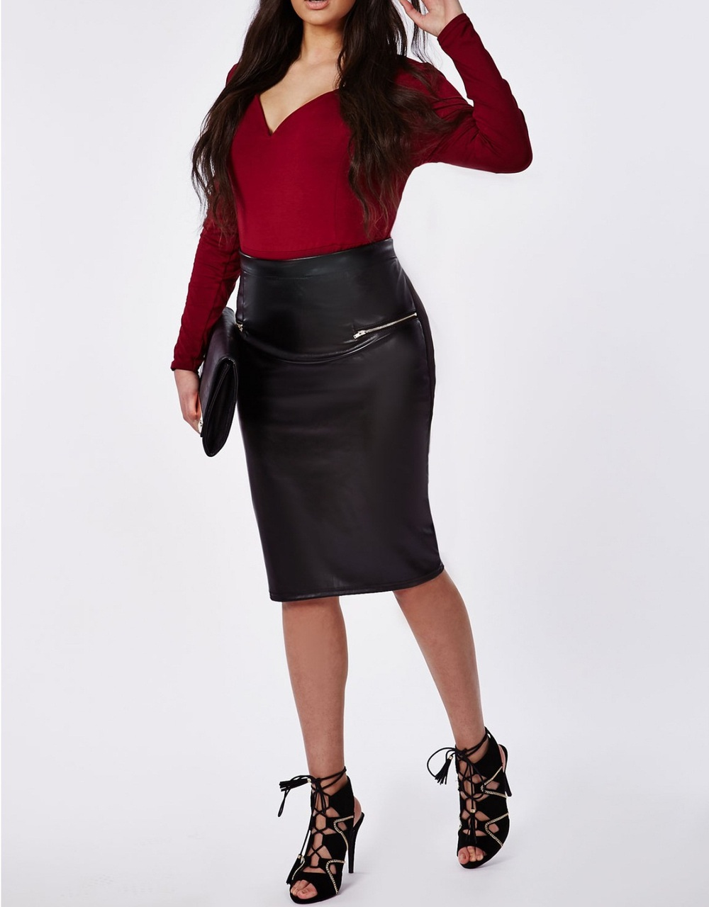 2015 New Fashion Oem Skirt Women Plus Size Sexy Tight Pu Leather ...