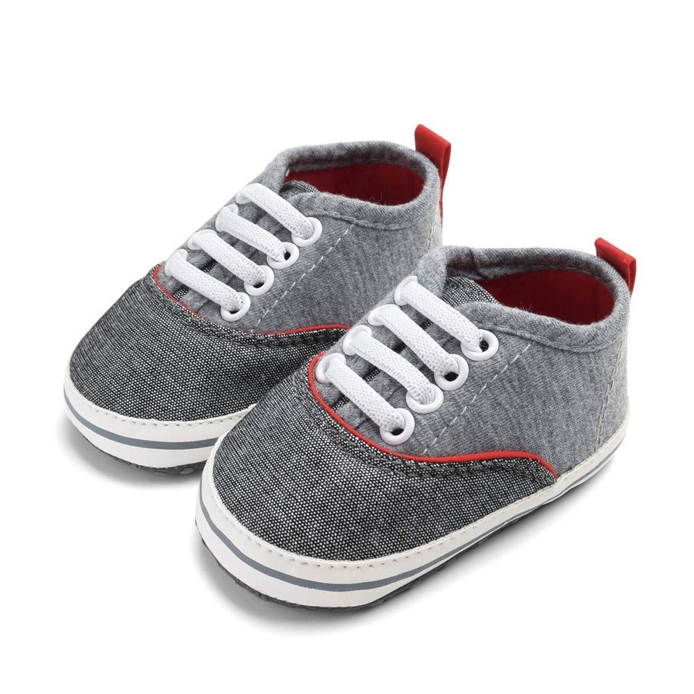 Jshuang EUB Baby Boys Baby Soft Bottom Shoes, Baby Toddler Shoes, Denim Elastic Shoes, 0~18 Months Baby Shoes, Red,Gray,Blue,for Boys. (Gray, 13)