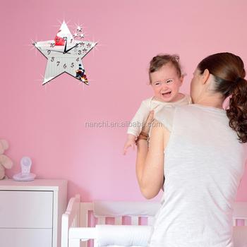 Popular Big Five Pointed Stars Diy Wall Clock Children Room Mirror ...