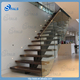 wood step glass railing residential steel stairs straight stairway