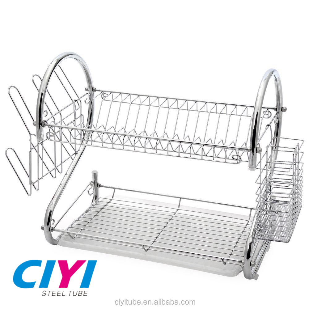 Modern kitchen stainless steel 2 tier dish drying rack