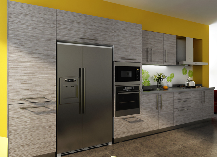 Wood Grain Laminate Kitchen Cabinets European Standard