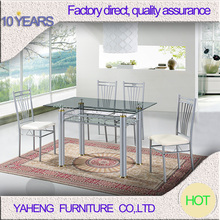 Foshan Yaheng Household safeway furnituremetal glass table and chairl for kitchen
