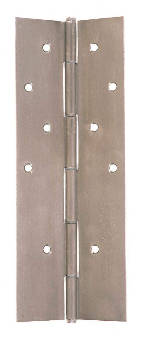 """180 Continuous Hinge With Holes, Brushed Stainless Steel, Door Leaf: 95-1/8"""" x 2-3/16"""" W"""