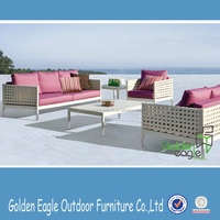 rattan wicker patio sofa set with plastic wood top