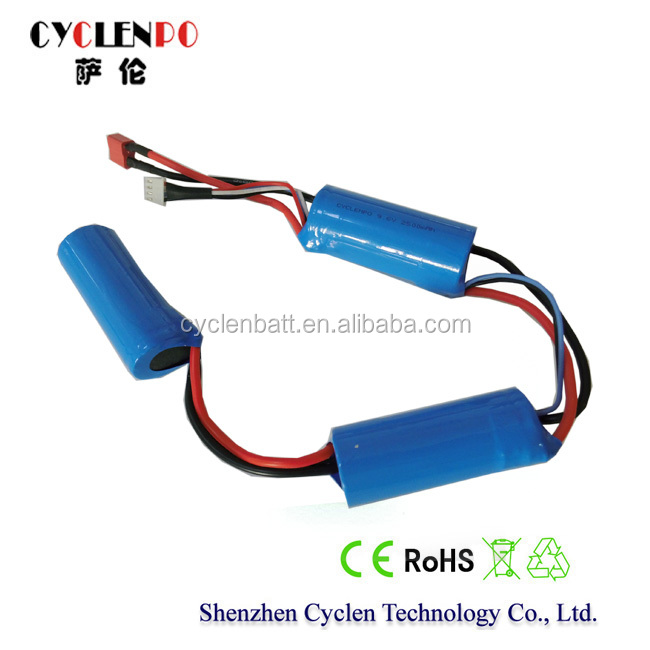 9.6V 2500mah lifepo4 li-ion phosphate rechargeable battery pack