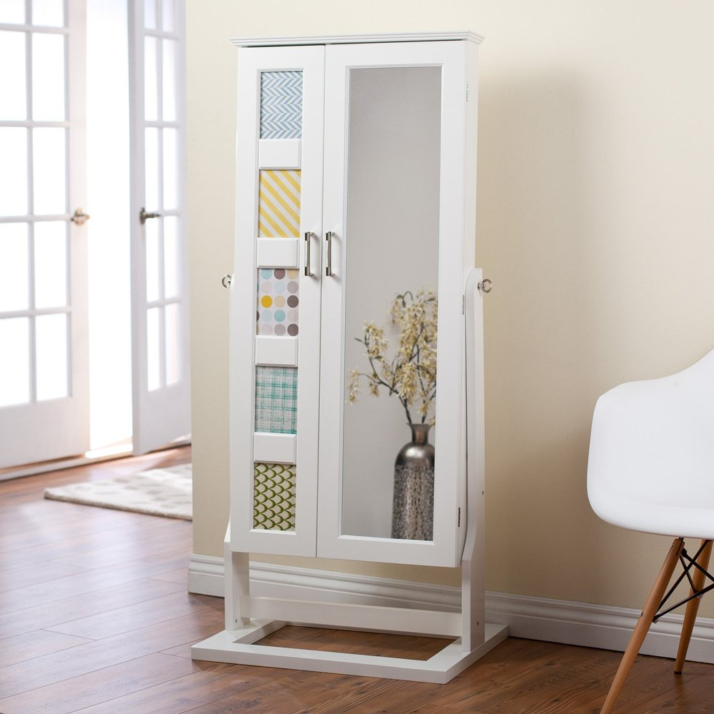 Mirrored Jewelry Cabinet Armoire Floor Standing Cheval Mirror Jewelry Armoire Planstraditional